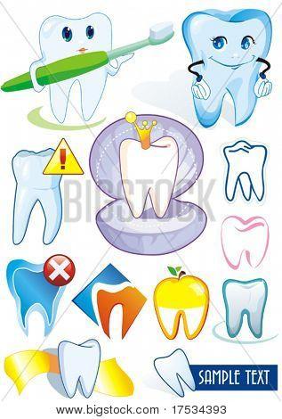 Glücklich lächelnd Zahn auf weißem Hintergrund - set Vektor Illustration. Zwölf medizinische Symbole der Zähne. -