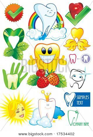 Happy smiling Tooth on white background - vector set illustration. Fourteen Medical icons of teeth. - Part 4. Collection stomatology isolated different symbols.