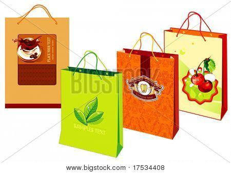 Colorful shopping bags are standing upright isolated on a white background. Group paper package created as modern art. Vector beautiful illustration