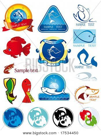 A collection set of 17 illustrations of fishes in unique exquisite and ornamental style. Template designs Glossy vector sea icons of waves and fish. Seafood Header for coffee and restaurant.