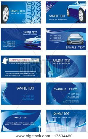 Collection of horizontal Business Cards Design. Set of corporate templates on the blue background with firm styles.