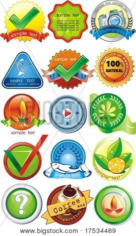Certified organic label or sticker for products - graphic illustration. Set of design element, vector labels for quality warranty