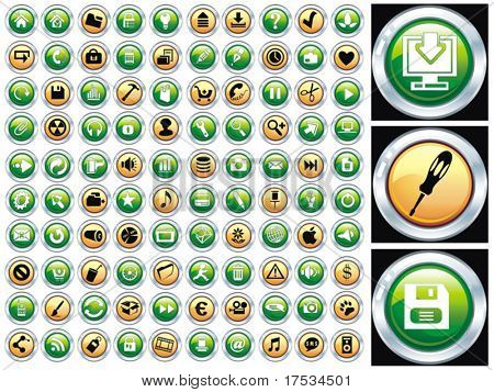 Hundred shiny vector Icons for Web Applications. Web, document, media, shopping and other. Please visit my portfolio to see similar.
