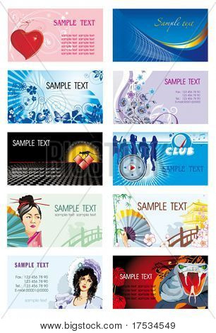 Collection of horizontal Business Cards Design. Set of corporate templates on the colorful abstract backgrounds with firm bright styles. Graphic illustrations collection 1.