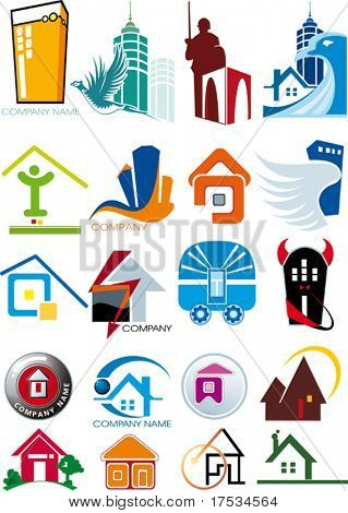 House vector Icons for Web. Construction or Real Estate concept. Abstract color element set of business templates. Just place your own company name. Collection 9.