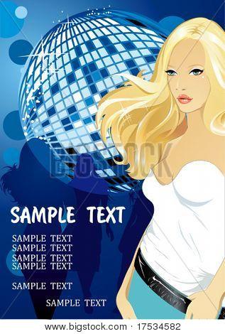 """die blonden schönen Mädchen-Disco-Tänzerin. Silhouette des tanzenden Mädchen. Partei Einladung Vorlage €"""" vec"""