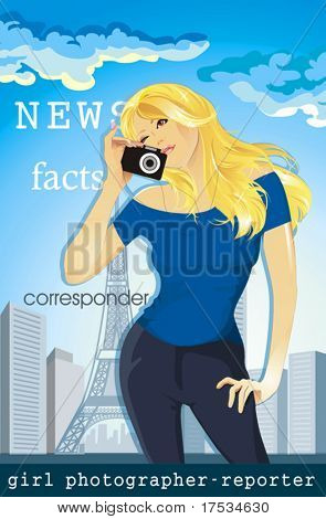 Travel profession series. Journalist. Reporter. A girl photographer on background city. Clipart vector illustration of Female tourist with a camera on backdrop of Eiffel tower.