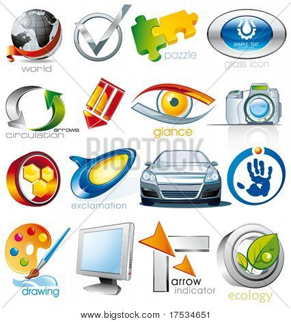 Set of vector 2D and 3D shiny, brilliant glossy Colorful Design elements. Collection_2