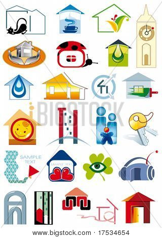 House vector Icons for Web. Construction or Real Estate concept. Abstract color element set of corporate templates. Collection 12.