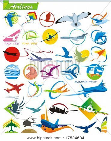 COLLECTION_1 Air lines vector iconos para Web. Símbolos de la serie de Turismo aeroplano. Un sistema de transporte