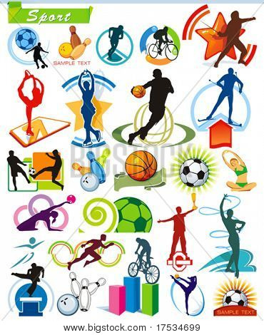 COLLECTION_5 Exclusive Series of Sports Icons and symbol pictograms with modern ideas. Vector color set for Web. Abstract creative element corporate templates. Just place your own company name.