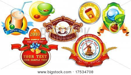 Certified organic decorative labels or sticker collection for products - graphic illustration. Shiny Control Ecology Set of design element, vector labels for quality warranty