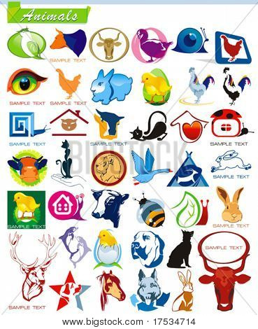 COLLECTION_6 Glossy and ecology animal Icon Set for design use, vector illustration. Series symbols for Web. A set of abstract color element corporate templates. Just place your own company name.