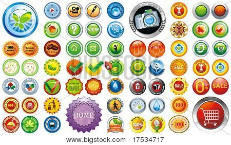 Big Collection of brightly colored web elements or sticker for products - graphic illustration. Set of design element, vector labels for quality warranty. Perfect for adding your own text or icons.