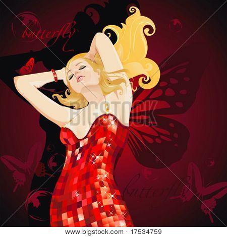 Hermosa bailarina sexy vestido rojo. Linda mujer con alas de mariposa.
