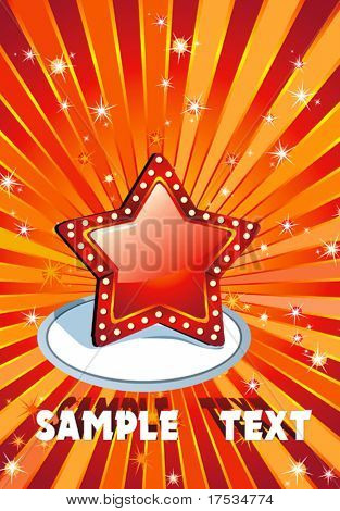 Red background with gold star, vector illustration. Festive magic superstar background with glitter burst