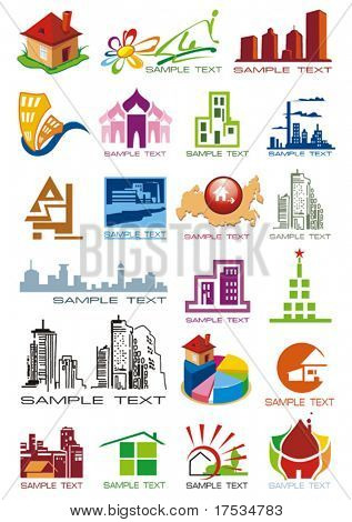 House vector Icons for Web. Construction or Real Estate concept. Abstract color element set of corporate templates. Just place your own name. Collection 17.