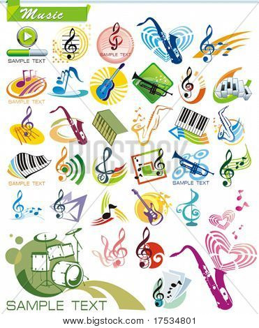 Instrumentos COLLECTION_9 exclusiva serie de musicales vector iconos y símbolos de la música con la idea moderna