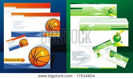 Office elements and accessories for Your company. Vector business set of secretarial things and supplies. Workplace with paper, folder and business card. Collection _9