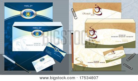 Office elements and accessories for Your company. Vector business set of secretarial things and supplies. Workplace with paper, folder, pen and business card. Collection _10