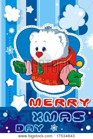 Blue baby winter background with Funny young Teddy bear. Christmas and New-Year's greeting sweet postcard. Vector illustration. Teddy bear for baby boy - arrival announcement.
