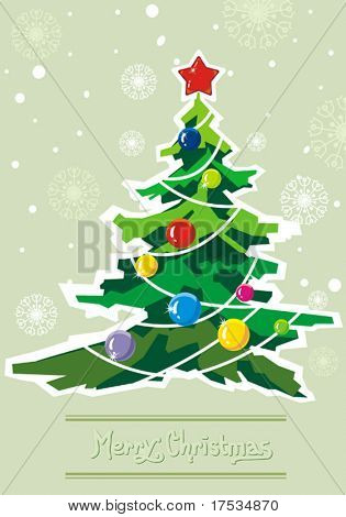 Greenish winter background with Creative Christmas tree. New-Year's greeting sweet postcard with stars and snowflakes. Vector illustration.