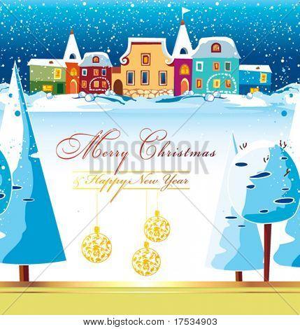 Silvester Winter Hintergrund mit Weihnachtsbaum. Gruß süße Postkarte mit Häusern und Schnee. Chri