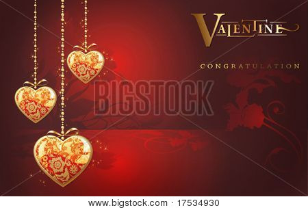Abstract Classical congratulation postcard with three glossy Golden hearts. Vector frame background with Place for your text. Red illustration with jewel hearts for design - Saint Valentine's Day.