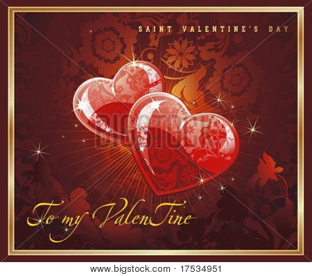 Abstract Classical congratulation card with glossy red hearts. Vector frame background with Place for your text. Chocolate illustration for design of packing - Saint Valentine's Day.