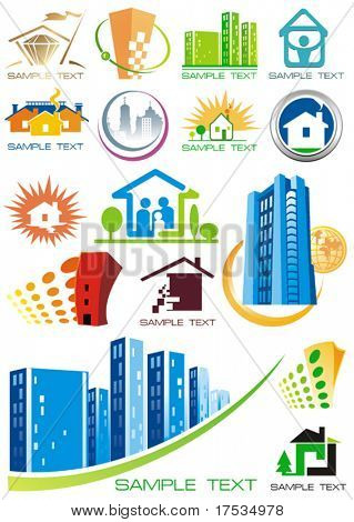 House vector Icons for Web. Construction or Real Estate concept. Abstract color element set of corporate templates. Just place your own name. Collection 21.