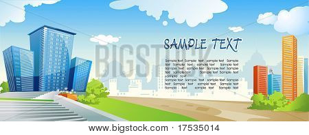 City panoramic landscape with type of modern buildings. Silhouette of colorful city with road on urban background. Vector illustration art.