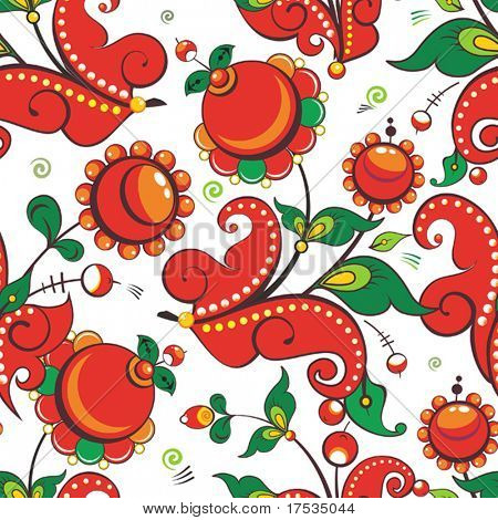 Floral decorative seamless pattern. Graphic colored elements for yours design use. Vector background use for filling any contours.