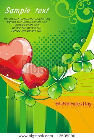 Dias cartão Beautiful são Patrício. A ilustração vetorial com coração e folhas verdes clov