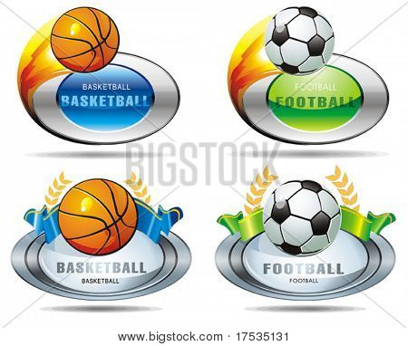 Silver basketball and footballs icon. A set of four balls with ribbon, isolated on white. Vector illustration sport templates.