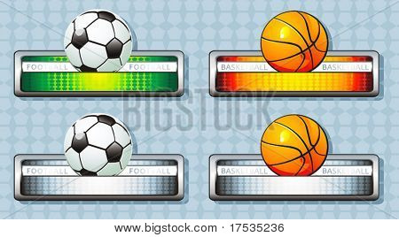 Orange basketball and Green footballs icon. A set of four balls with banners. Vector illustration sport templates.