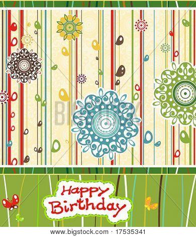 Beautiful blossom vector illustration. Greeting birthday card.