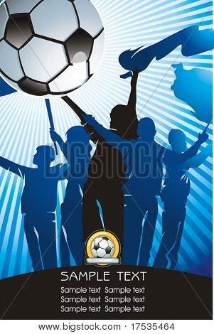 Soccer ball on Abstract background with silhouettes of fans. Vector Football background with space for text.
