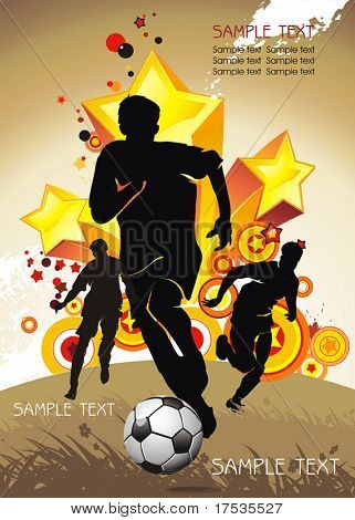 Soccer Action player. Team on Abstract Background of stars. Original Vector illustration sports series. Abstract Classical football poster.