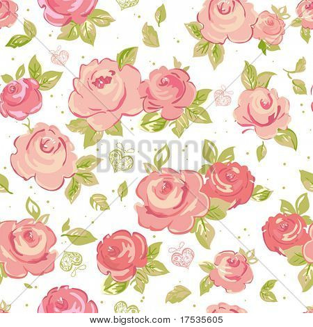 Elegance Seamless wallpaper pattern with of pink roses on floral background, vector illustration