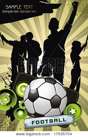 Soccer ball with crowd silhouettes of sport fans. Vector Football background with space for your text.