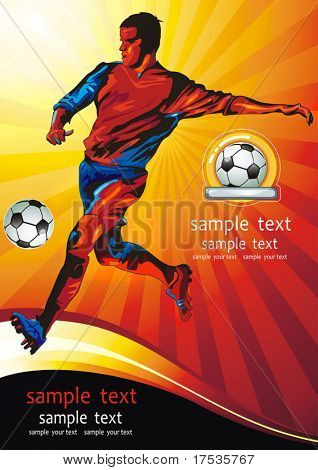 Dynamic golden football player. Soccer Action Player on beautiful Abstract Background. Original Classical illustration sports poster.
