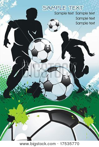 Soccer Player and Ball, design banner. Original Vector illustration sports series. Abstract Classical football poster.