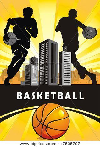 Jogadores de ação. Série de esportes de ilustração vetorial. Equipe de basquete em abstrato