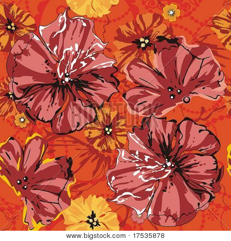 Red Abstract Elegance seamless floral pattern. Beautiful flowers vector illustration texture with poppy.