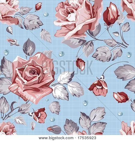 Elegance Seamless wallpaper pattern with of pink roses on canvas blue background, floral vector illustration