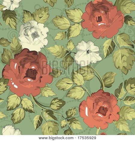 Seamless wallpaper pattern with of red roses on green design background, vector illustration