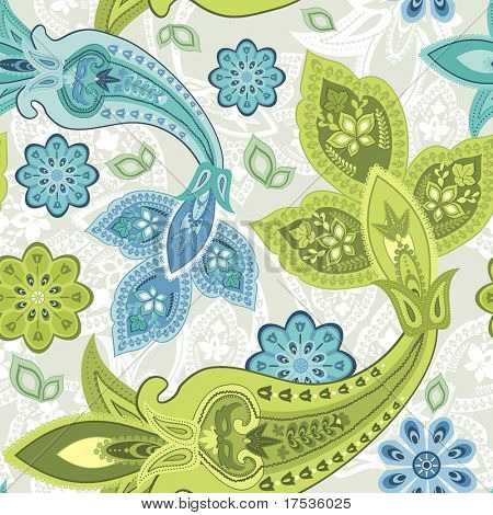 Seamless floral pattern abstract flowers, paisley decoration.
