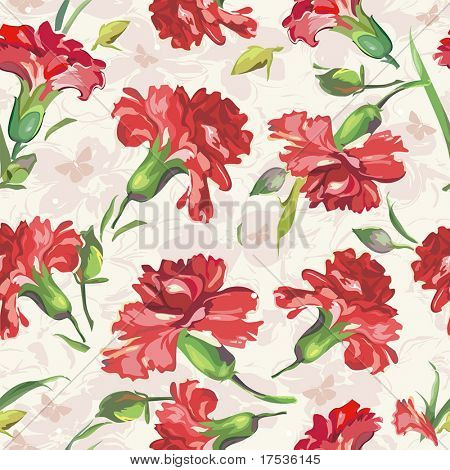 Red Carnations on floral background with butterflies. Vintage seamless pattern.