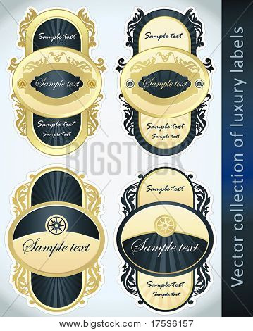 Vintage Labels Collection for a product_3. Sticker template with design elements Set of blue golden vector illustration tags.