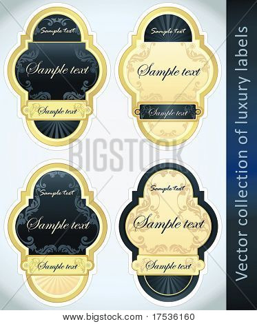 Vintage Labels Collection for a product_2. Sticker template with design elements. Set of blue golden vector illustration tags.